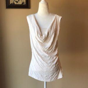 Cream Sleeveless Top w/ Sequins